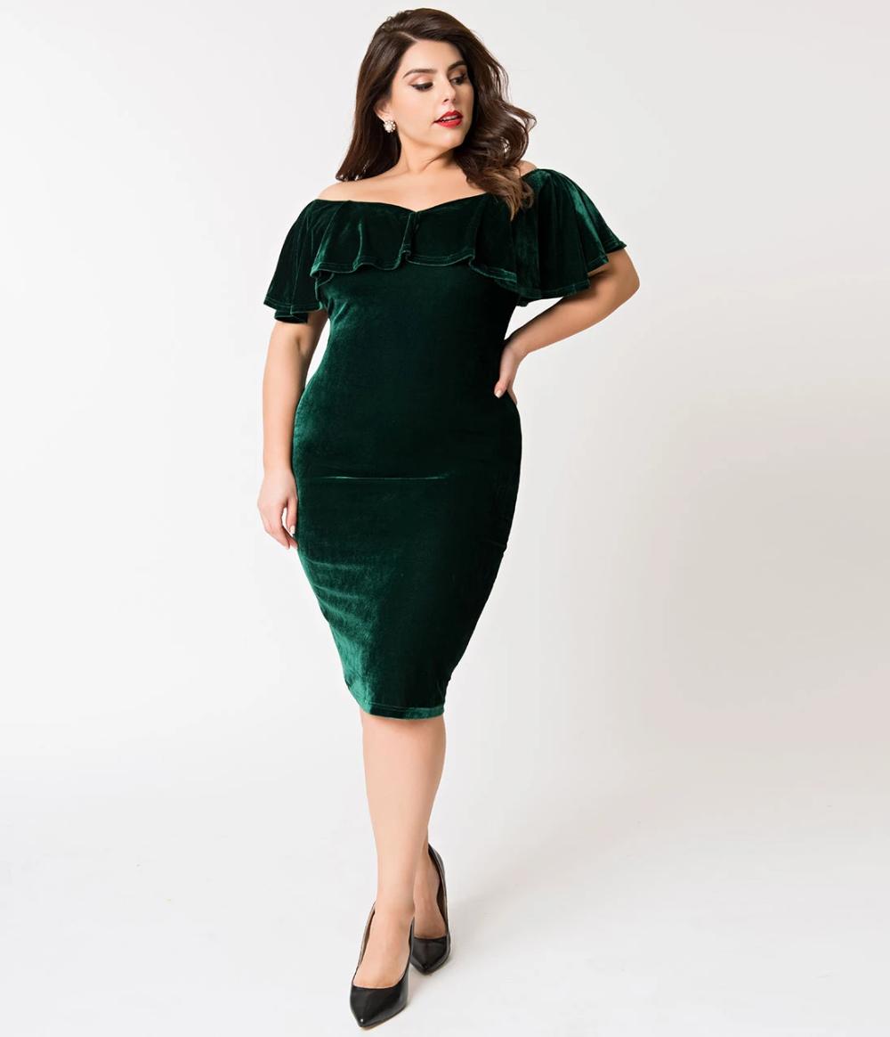 Unique Vintage Plus Size Emerald Green Velvet Draped Off Shoulder Sophia Wiggle Dress Green Velvet Dress Unique Dresses White Swing Dress [ 1164 x 1000 Pixel ]