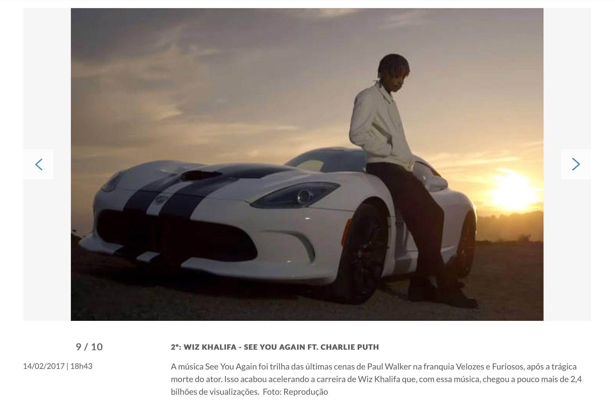 Vídeos mais vistos do YouTube: 2° lugar - Wiz Khalifa - See You Again (feat. Charlie Puth)