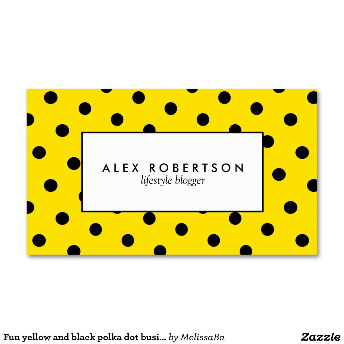 Fun yellow and black polka dot business card | Business Cards ...