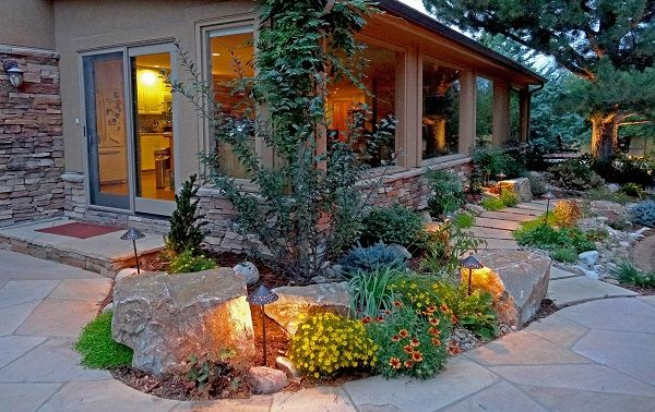 Boulders Accents And Black Mulch Large Rock Landscaping Ideas