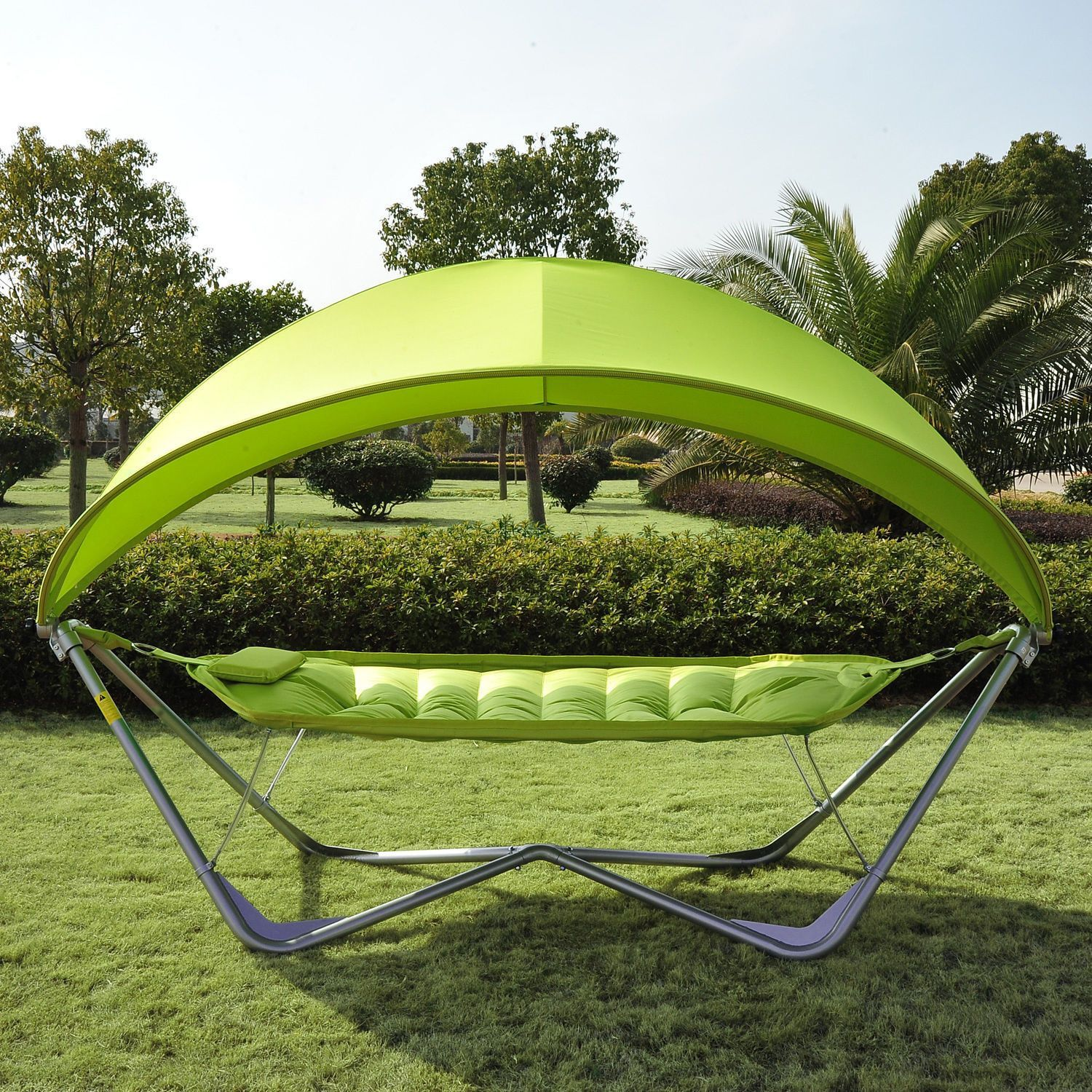 Outdoor hammock bed with cover - Outdoor Single Hammock Canopy Stand Patio Bed Portable Swing Camping Yard Poolside Lemon Green