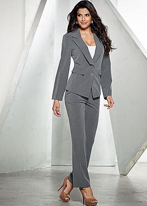 Pinstripe Pant Suit Cami Heel Clothes Suits Pinstripe Pants