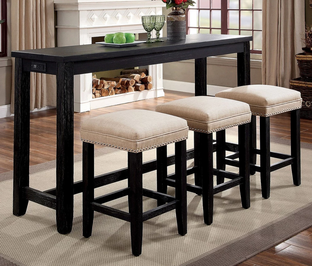 Furniture Of America Caerleon 4 Piece Black Counter Height Table