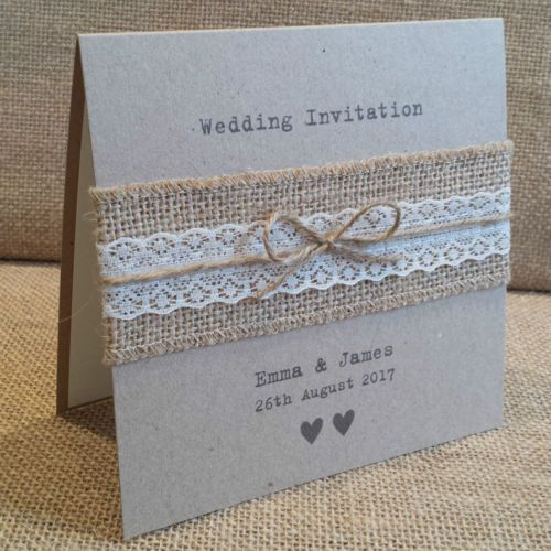 Vintage Style Wedding Invitation With Hessian Lace Rustic Shabby Chic Sample