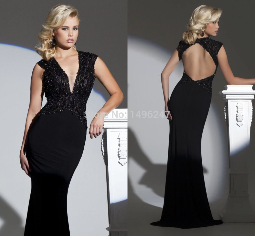 Click to buy ucuc long tight black v neck backless sexy women formal