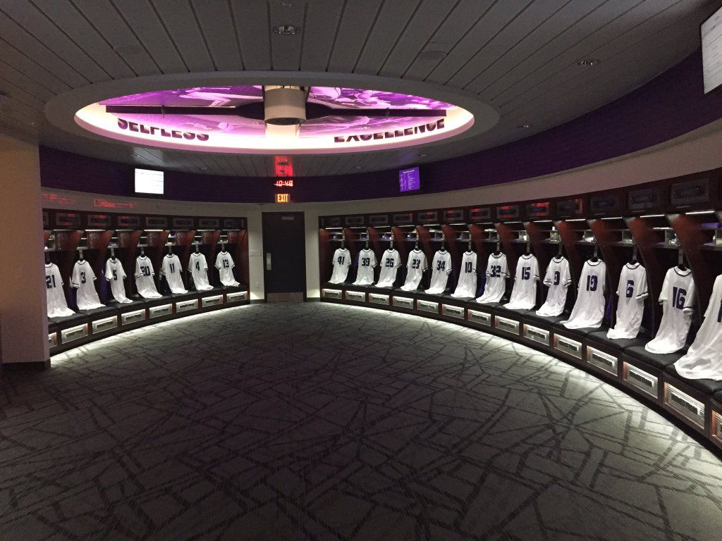 TCU Baseballs Jerseys Hung In Their Brand New Locker Room At Lupton Stadium Tweet From