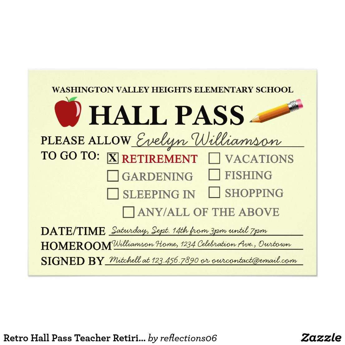 retro hall pass teacher retiring party invitation in 2018 retired