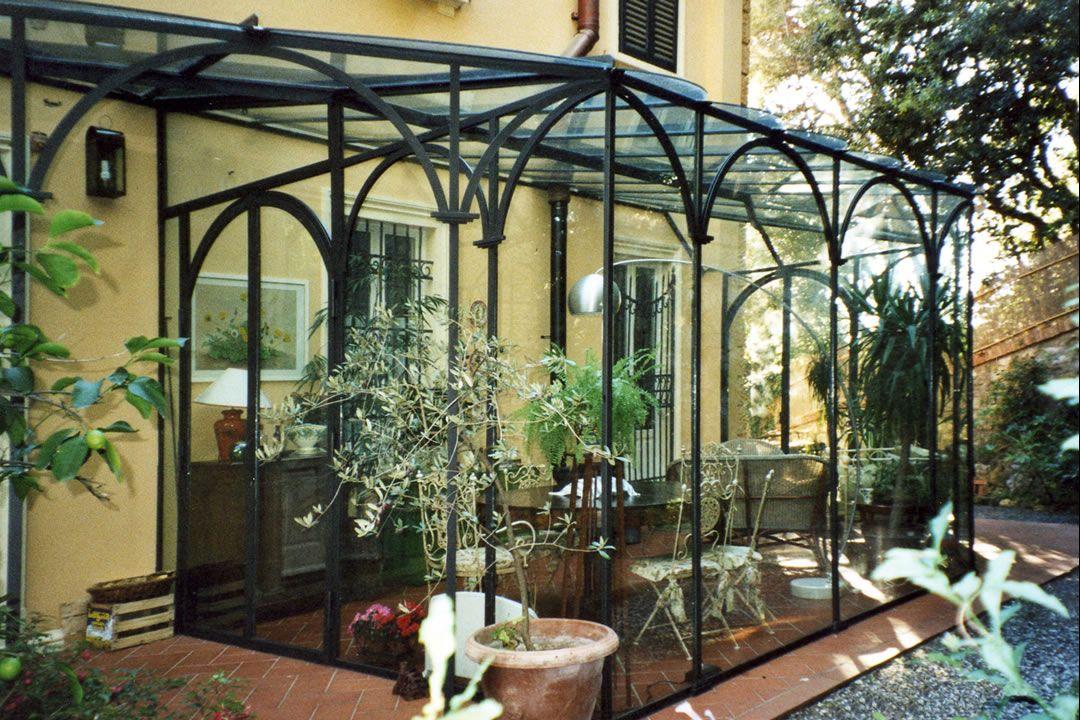 Gazebo Ferro E Vetro.Veranda In Ferro Battuto E Vetro Con Realizzazione Giardini