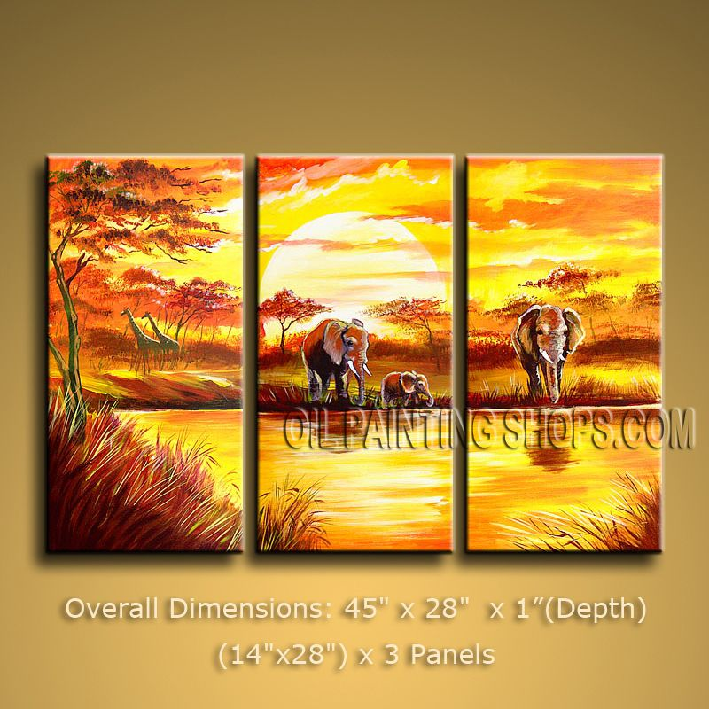 Handmade Triptych Contemporary Wall Art Landscape Painting African ...
