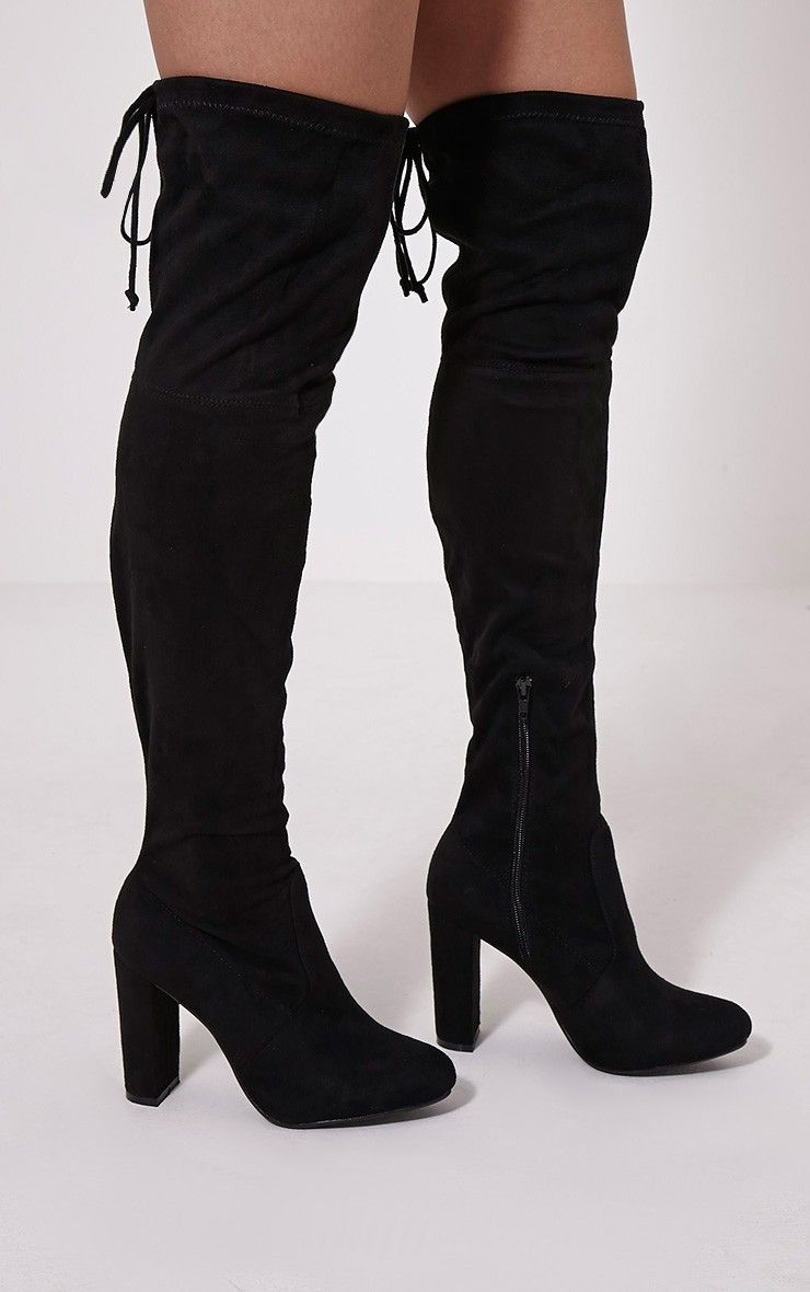 385d43c0a0f Bess Black Faux Suede Heel Thigh Boots Image 1
