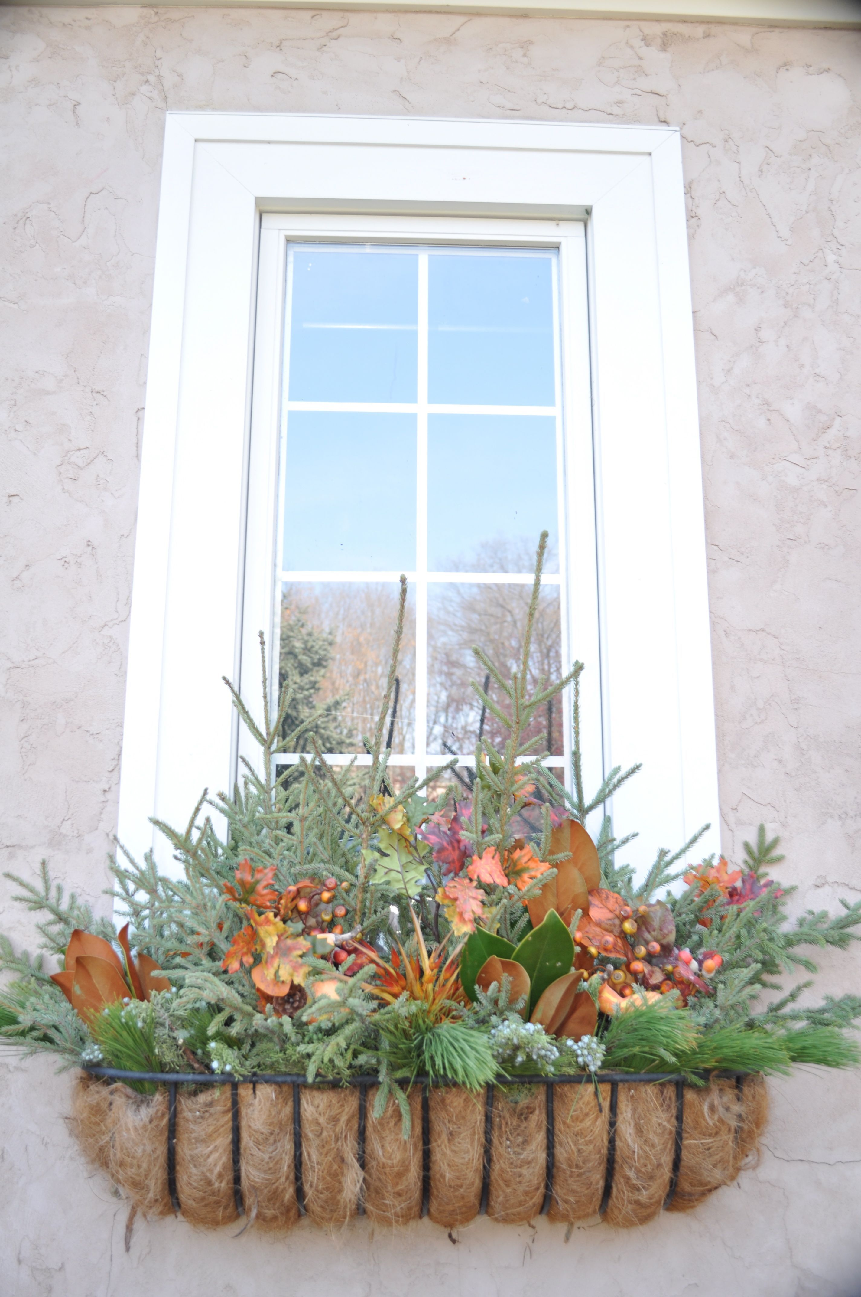 Fall window boxwould be easy to change into winter Fall
