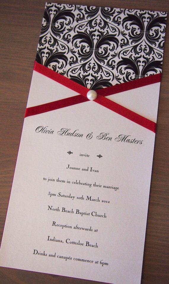 Square Elegant Panel Pocket Wedding Invitation Black Red White – Black Red and White Wedding Invitations