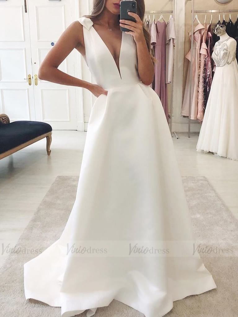 Cheap Simple Satin Wedding Dresses Plunging V Neck Bridal Dress Vw1324 Plain Wedding Dress Wedding Dresses Satin Simple Satin Wedding Dress [ 1024 x 768 Pixel ]