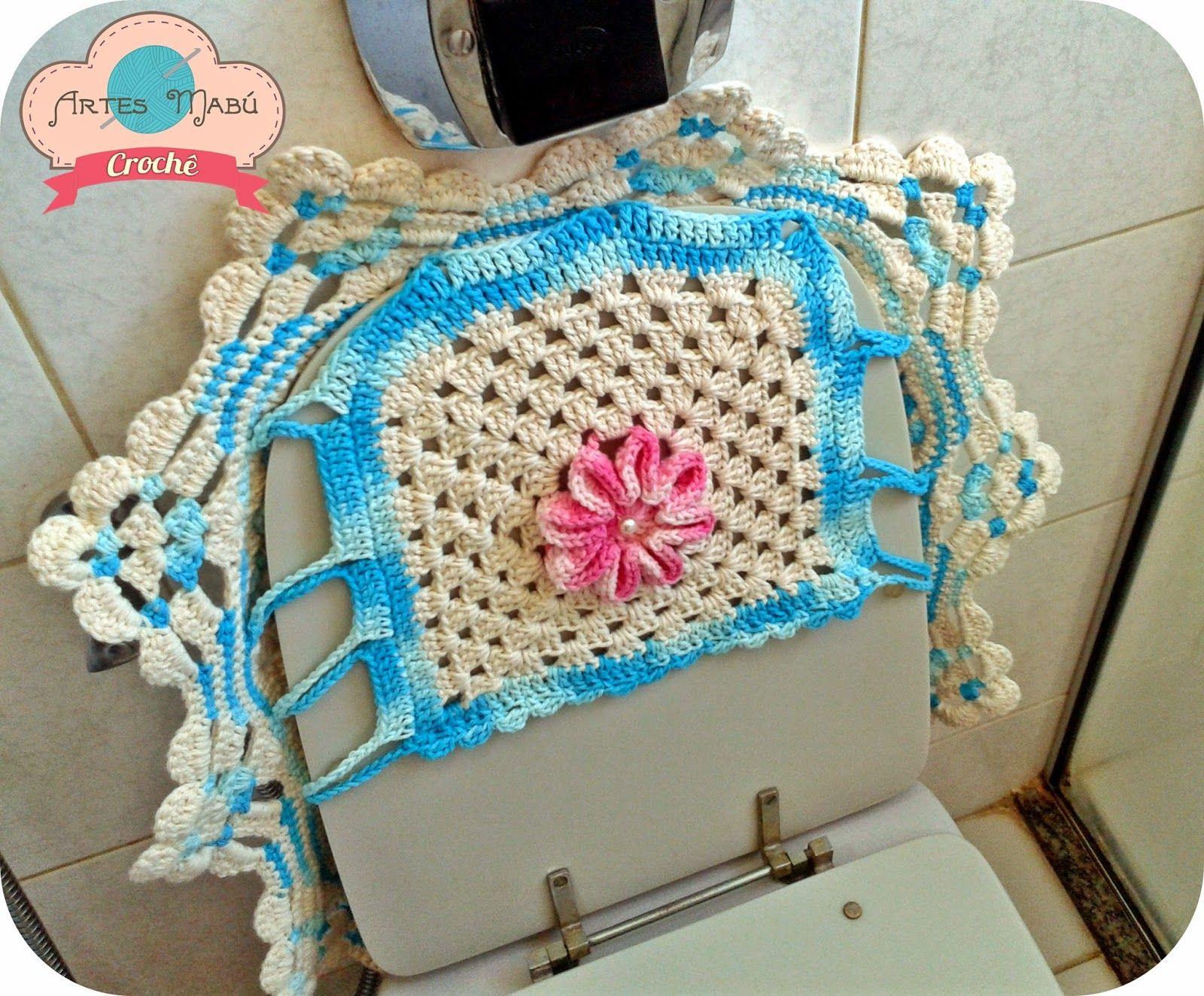 Luciana Ponzo Criações em Crochê: Jogo de banheiro Vintage e o ponto azulejo marroquino