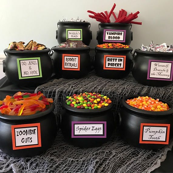 Halloween Candy Bar Signs – Set of 11 Table Signs for Your Halloween Party Decor