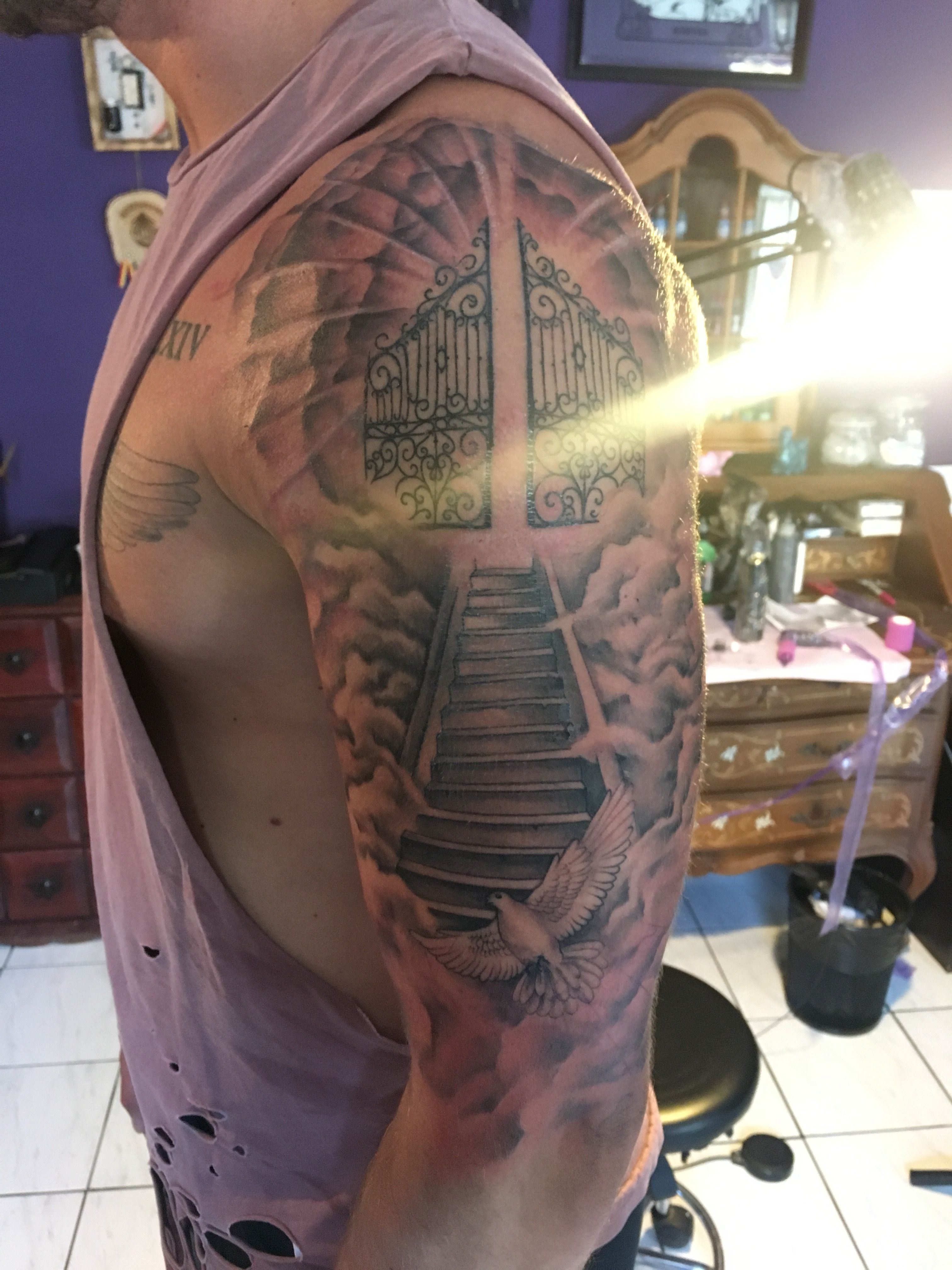 Newink Heavensgate Stairs Clouds Tattoo Ideas Cool Heaven Tattoos Cloud Tattoo Chest Tattoo Men