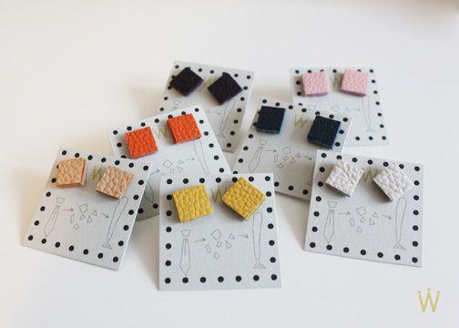 ::cube:: Ohrstecker mit Lederapplikation - Ohrringe von weiskoenig - Ohrhänger & Ohrringe - Lederschmuck - DaWanda