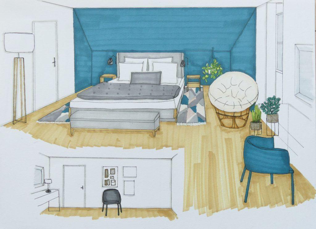Une Maison De Famille Moderne Deco Chambre Bleu Decoration