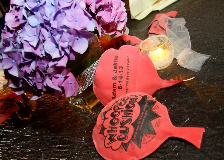 """Mini Whoopee Cushions wedding favors   Custom imprinted Whoopie Cushion Favors! """"Together Till We're Old ..."""