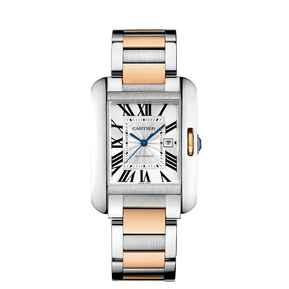 cartier tank anglasise pink gold and steel