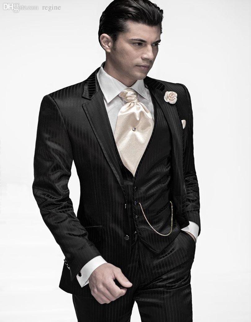 1a4e6263c8 2017 Wholesale Vintage Black Tuxedos Mens Suits Notched Lapel Wedding Suits  For Men Two Button Groomsmen Suits Jacket+Pants+Vest From Regine, ...
