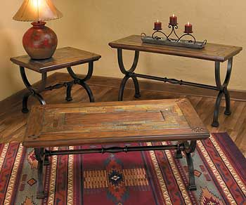 Rustic Wood Iron Tables With Slate Inlay