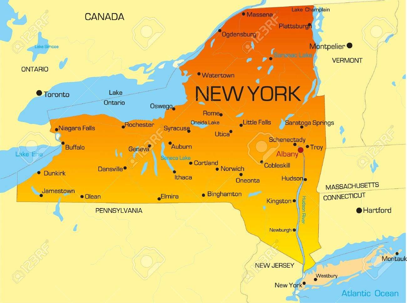Karte Der Staat New York Usa New York New Jersey Massachusetts