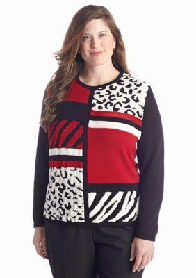 Alfred Dunner  Plus Size Manhattan Skyline Color Block Crew Sweater