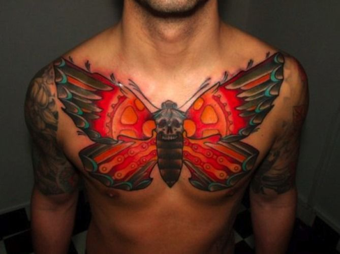 Amazing Chest Colorful Butterfly Tattoo For Men Chest Tattoo Men Tattoos For Guys Mens Butterfly Tattoo