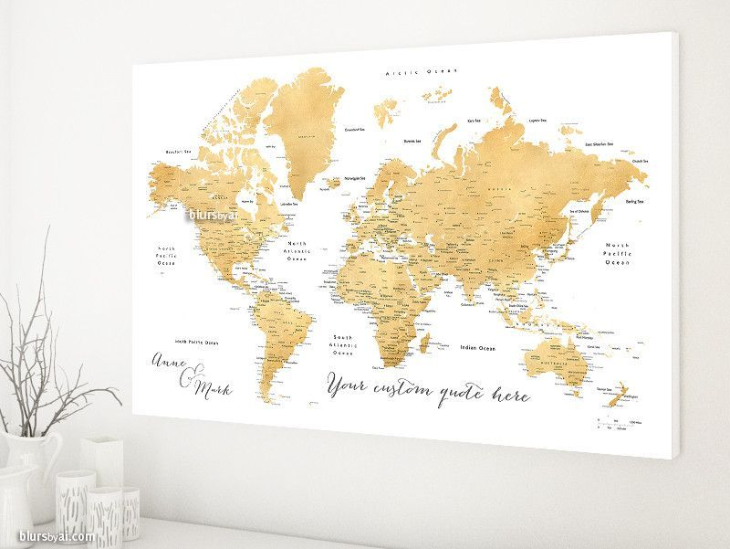 Custom quote world map canvas print gold foil effect world map custom quote world map canvas print gold foil effect world map with cities color gumiabroncs Gallery