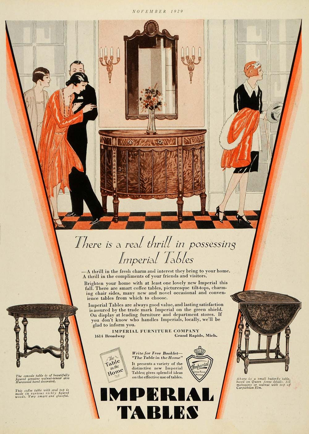 Imperial furniture -  There S A Real Thrill In Posessing Imperial Tables 1929 Imperial Furniture Vintage Advertisement
