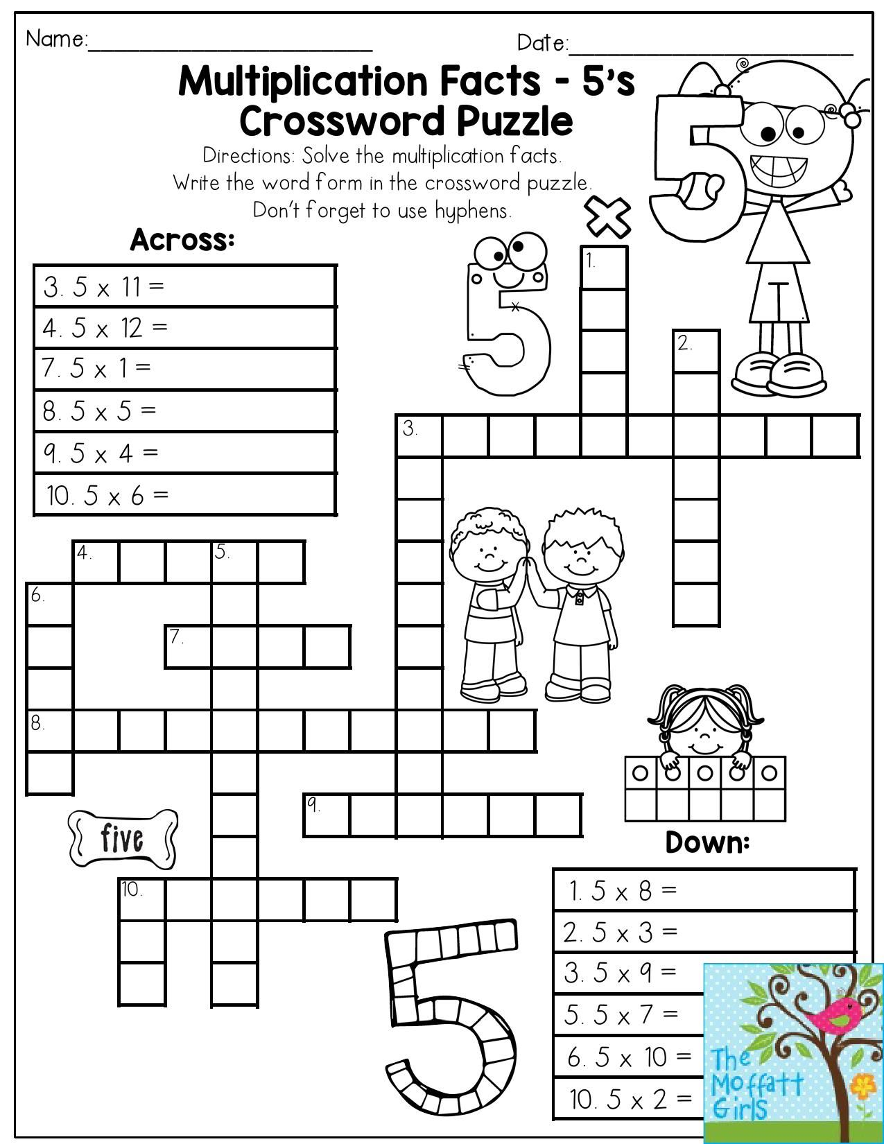 Multiplication Facts Crossword Puzzle- Third Grade students LOVE this one!  It makes practici…   Fun math worksheets [ 1650 x 1275 Pixel ]