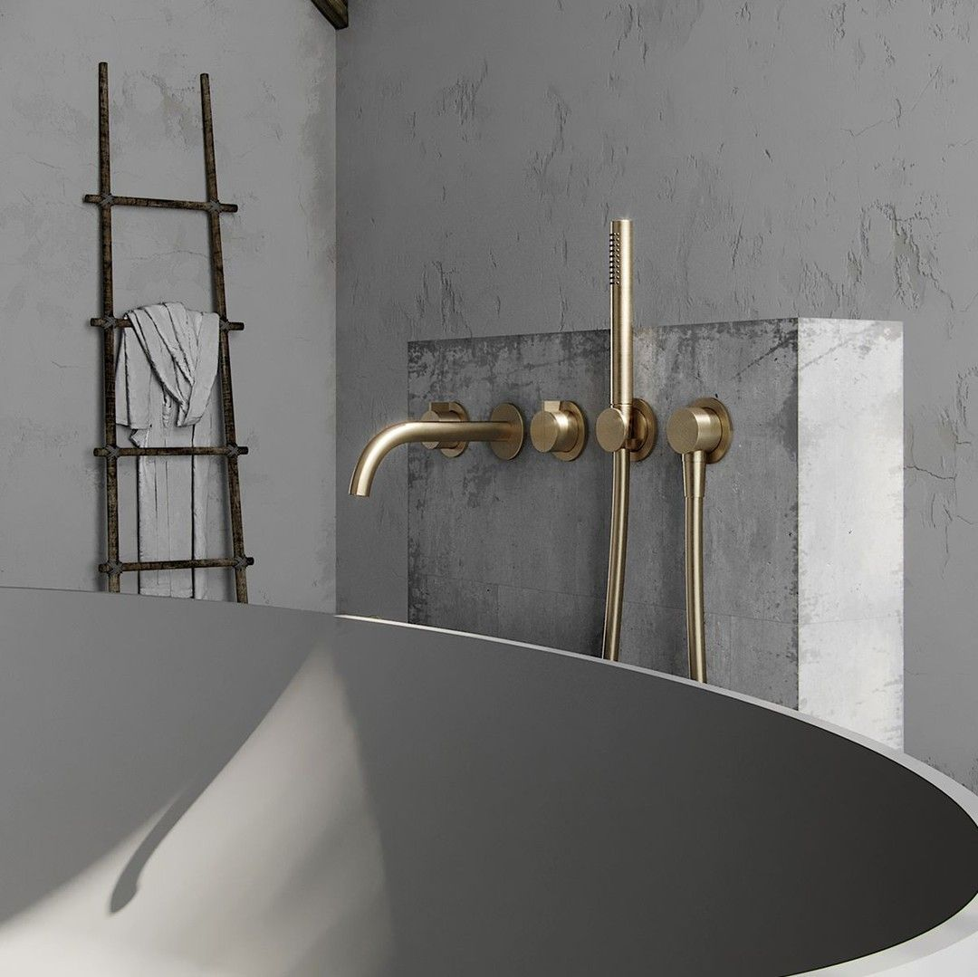 Bycocoon Posted To Instagram A Close Up Of The Cocoon Bath Mixer Set From The Brushed Gold Collection T Modern Bathroom Bathroom Design Bathroom Shower Tile