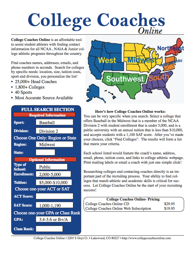 College Coaches Online  College Info    Students
