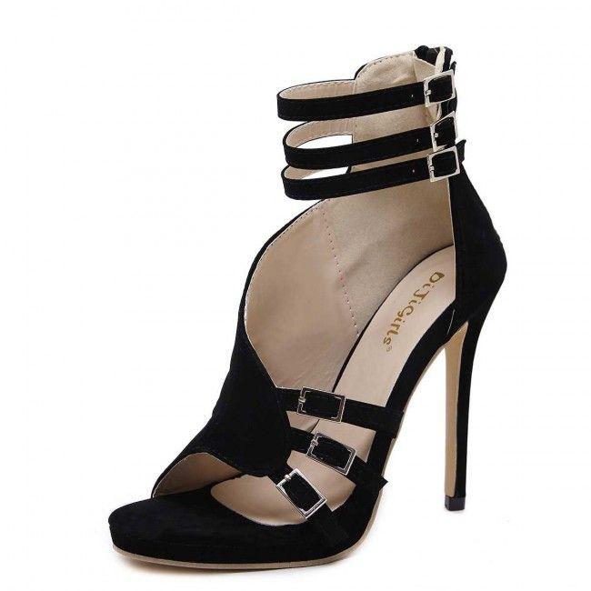 Cheap Black Ankle Strap Suede Stiletto Heels Women's Sandals -  TheCelebrityDresses