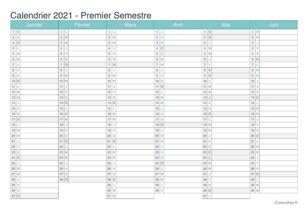 Calendrier 2021 à imprimer PDF et Excel   iCalendrier | Calendrier