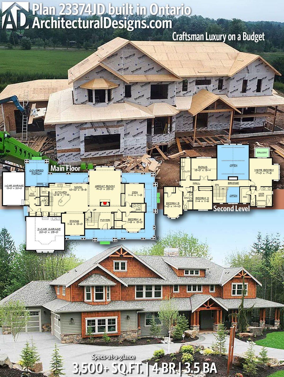 Plan 23374jd Craftsman Luxury On A Budget Luxury Craftsman House Plans Craftsman House Plans Dream House Plans