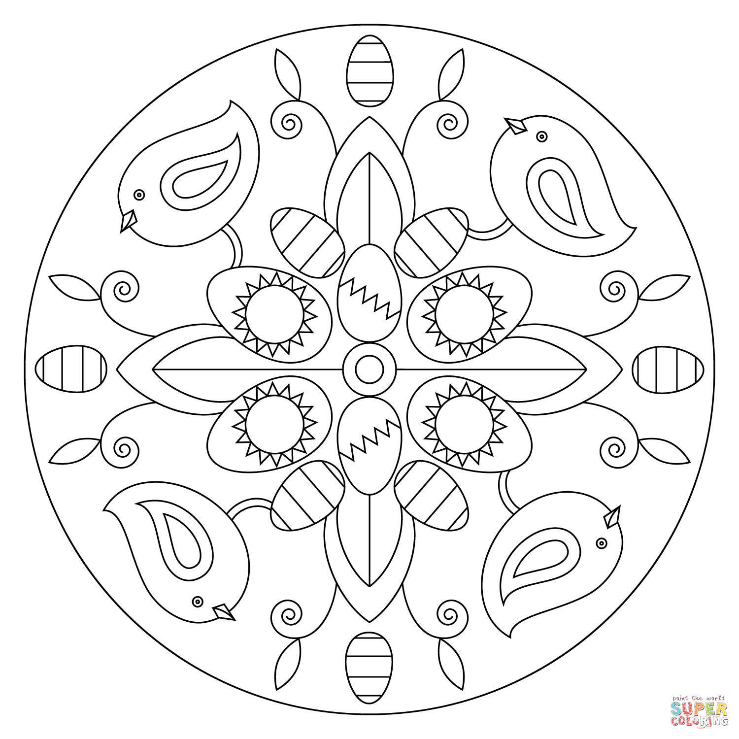 Easter Mandala With Birds And Eggs Super Coloring Easter Coloring Pages Coloring Pages Easter Colouring