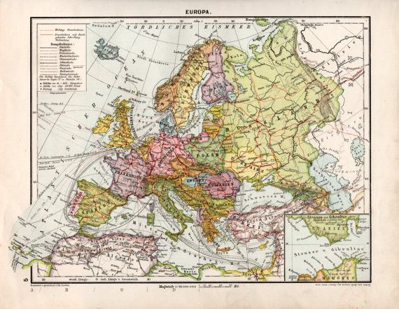 1920s Europe Map.1920 S Europe Old Map European Continent Antique By Craftissimo