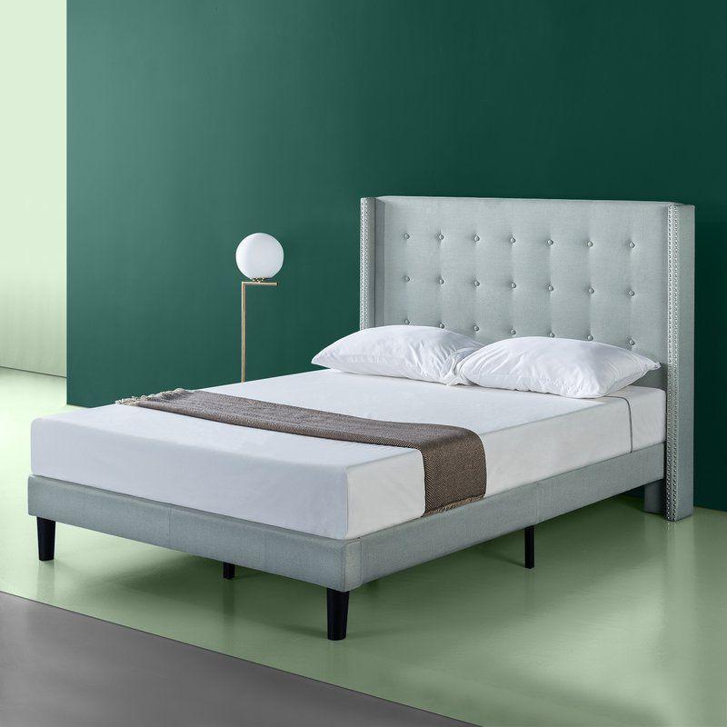 Alexio Upholstered Wingback Platform Bed Frame Platform Bed