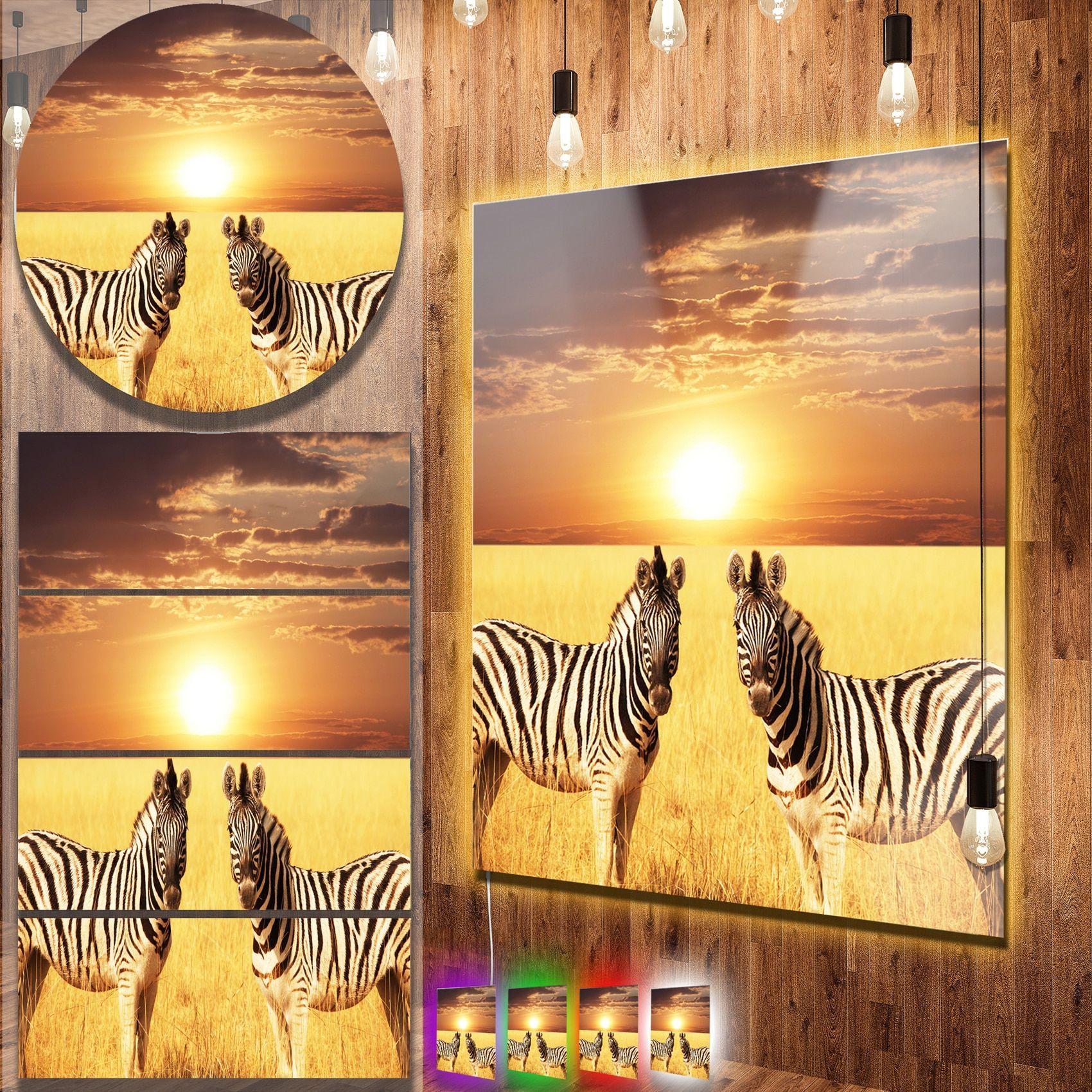 Designart \'Pair of Zebras in Field At Sunset\' African Metal Wall Art ...