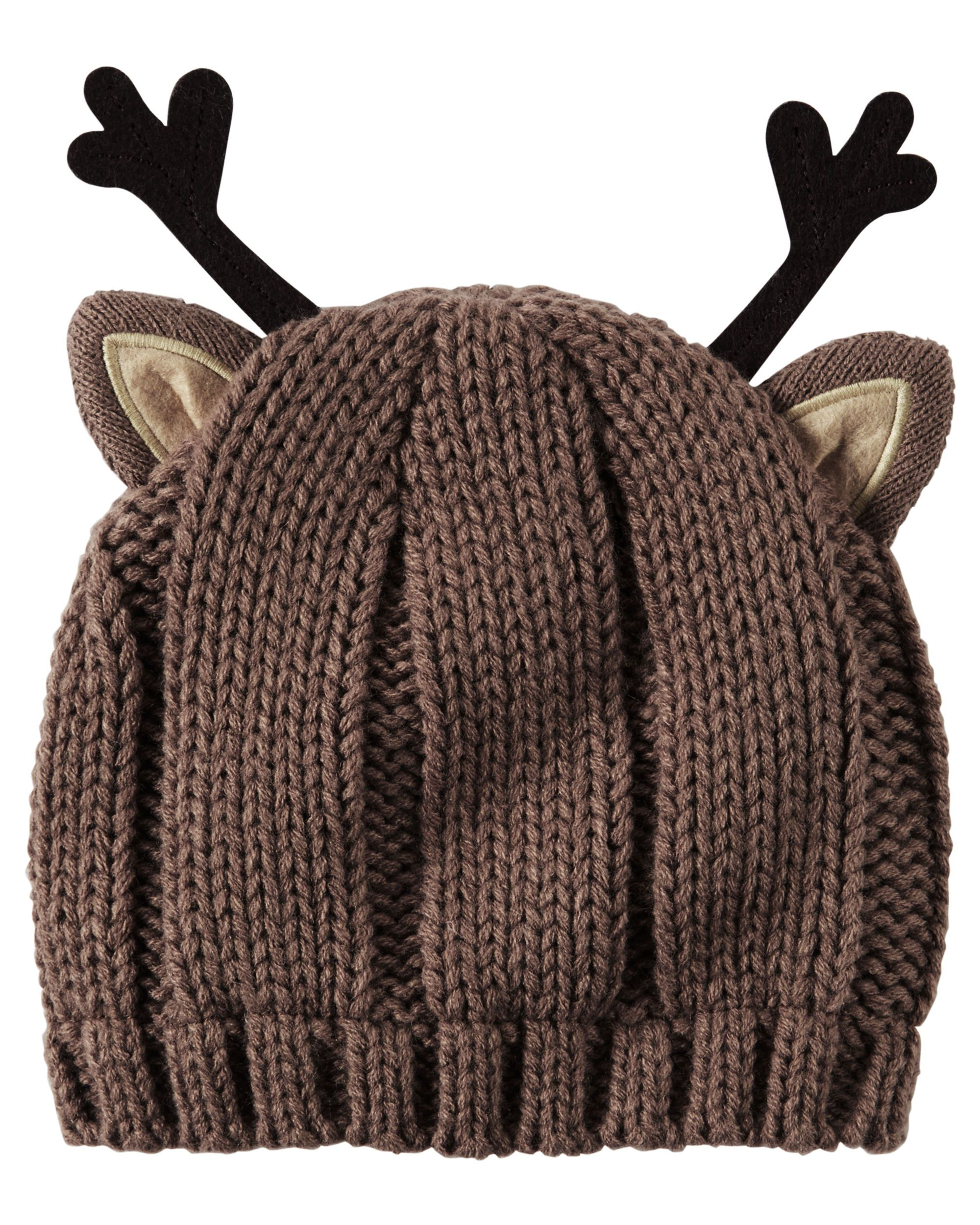b4864353b88 Baby Girl Knit Reindeer Hat