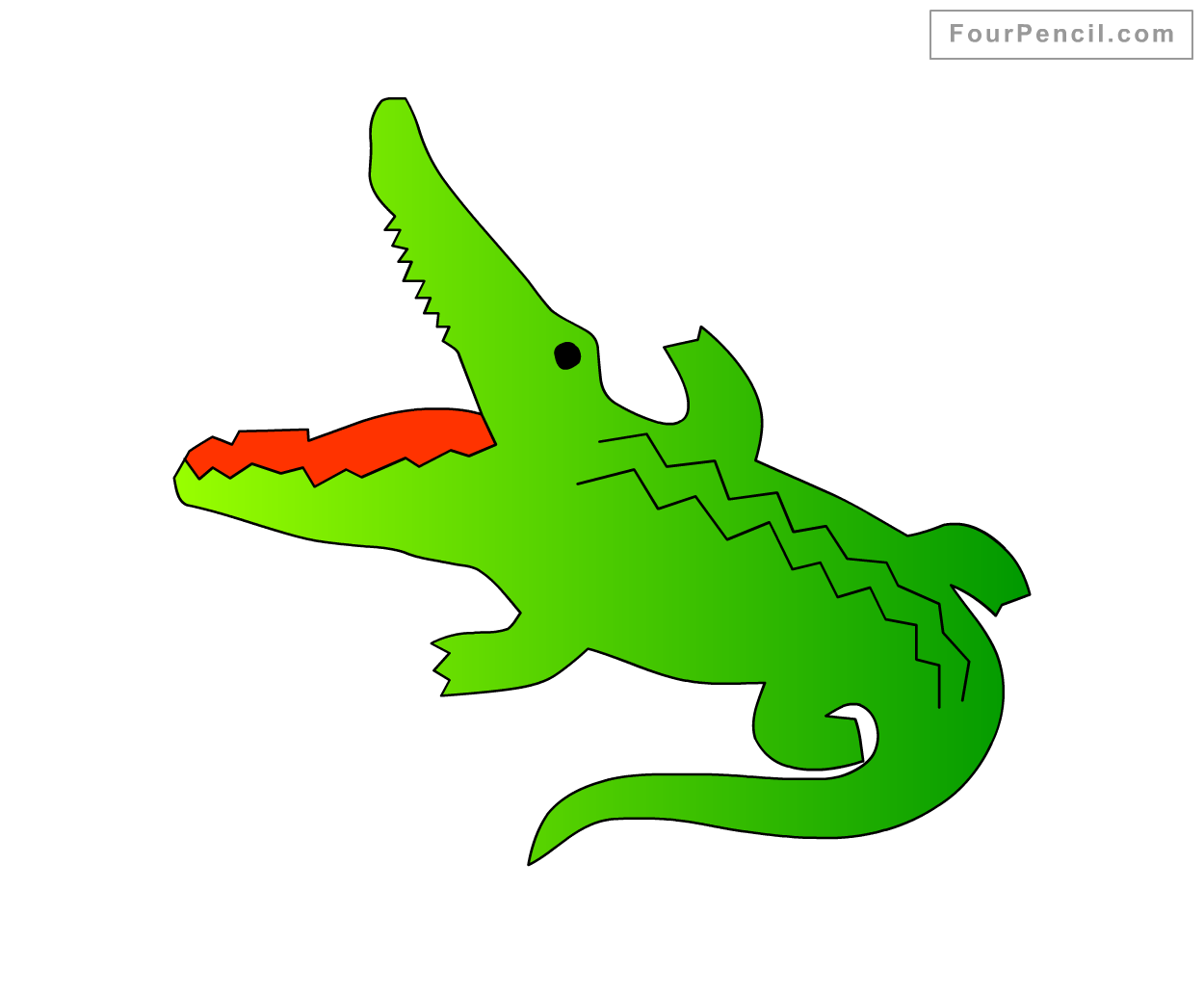 How To Draw Crocodile For Kids Step By Step Drawing