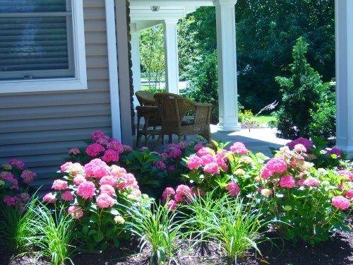 Shady Front Porch  Pink Flowers Front Porch Design   Build Landscape  Massapequa   Shady Front Porch  Pink Flowers Front Porch Design   Build  . Front Porch Landscaping Ideas Photos. Home Design Ideas