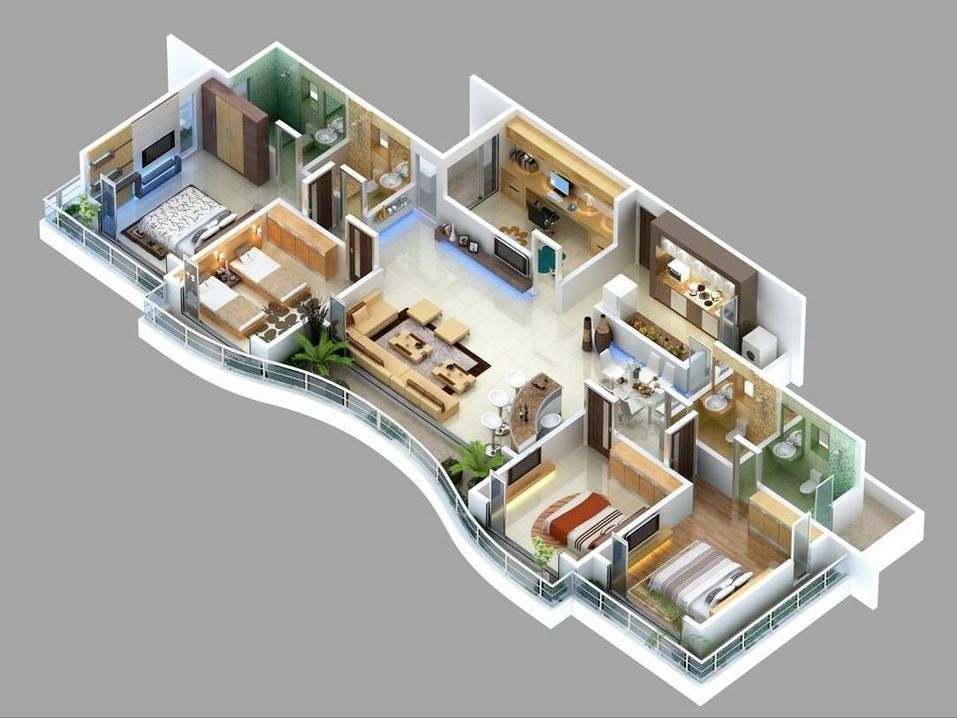 4 bedroom apartment house plans 3d floor plans for Apartment design plans 3d