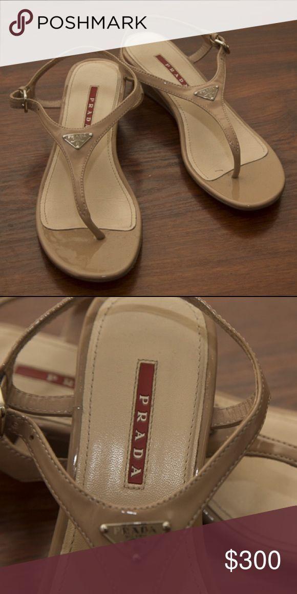 15bf281162b Prada Patent Leather Demi-Wedge Thong  Sandal Beautiful pair of never worn Prada  Patent Leather  Sandal. 1.75