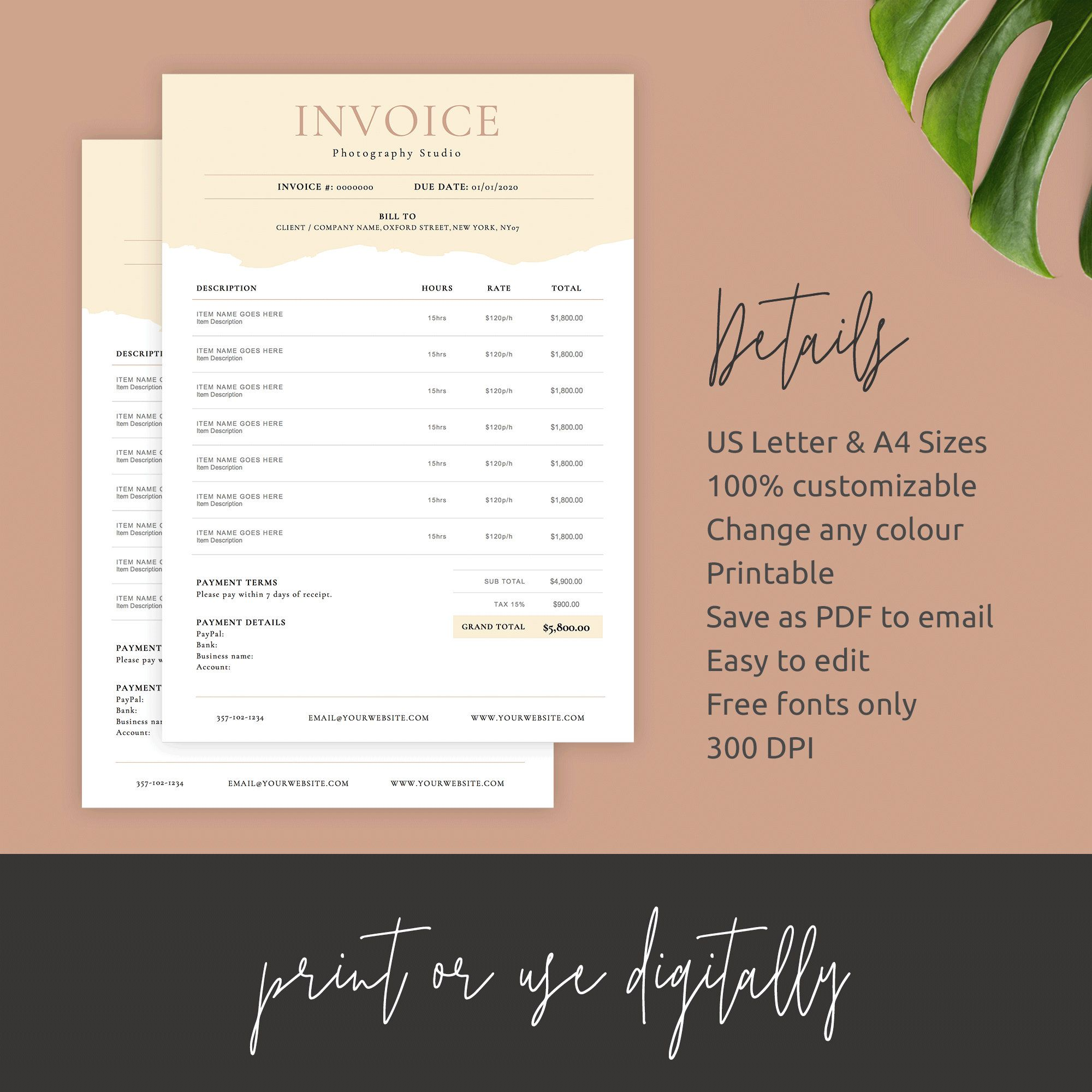 Photography Invoice Template Printable Invoice Photoshop Etsy Photography Invoice Template Photography Invoice Invoice Template Word