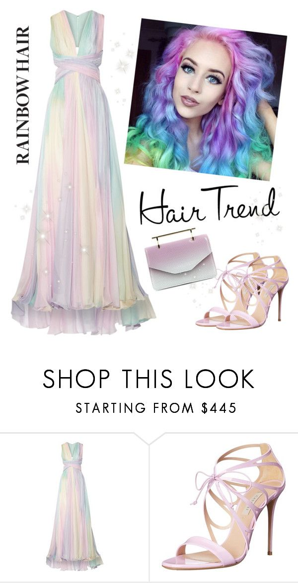 """Rainbow Hair"" by laurabosch ❤ liked on Polyvore featuring beauty, Zuhair Murad, Casadei, M2Malletier, hairtrend and rainbowhair"