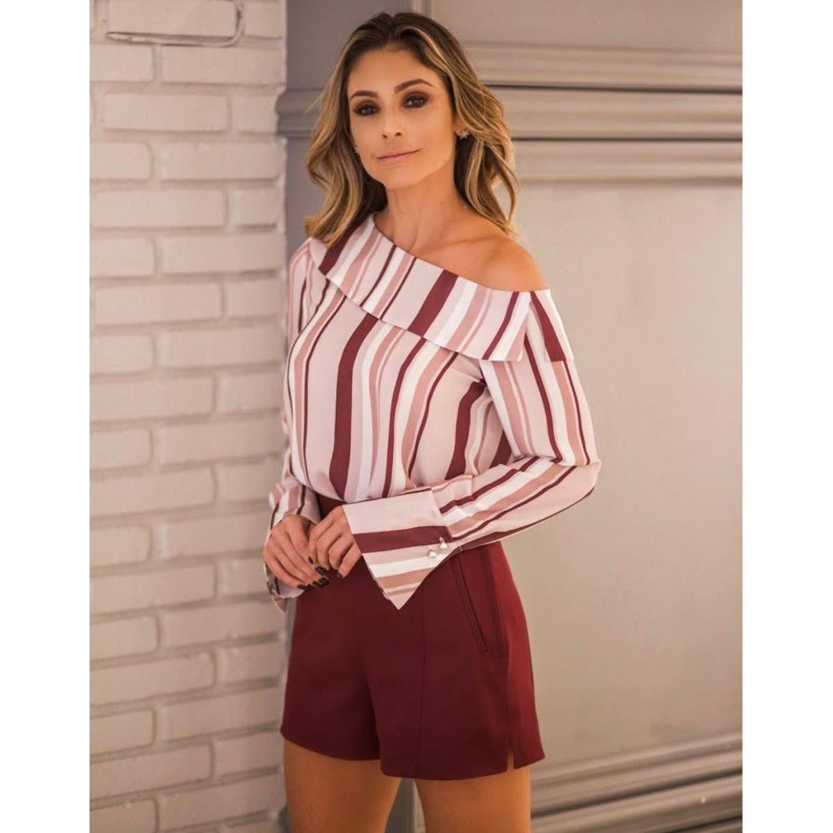Blusa Ombro Caido Listra Tops Modernos Ideias Fashion Roupas
