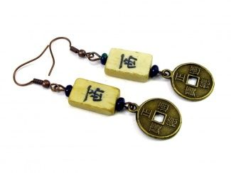 Mahjong Character Bone Tile Dangle Earrings Accented with Azurite Gemstone Bead and Chinese Coin Replica